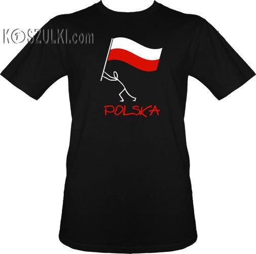 t shirt Polska Ludzik Czarny   Sportowe  Koszulki