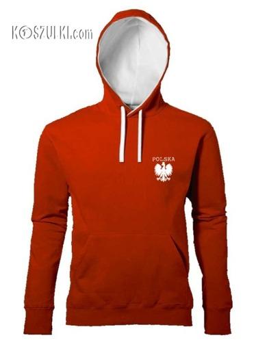 Bluza Polska z kapturem kontrast mały orzeł