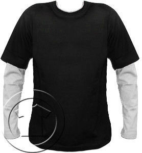 Bluza męska przedłużony rękaw Czarny- Biały