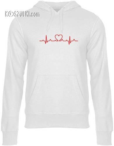 Bluza z kapturem EKG serce