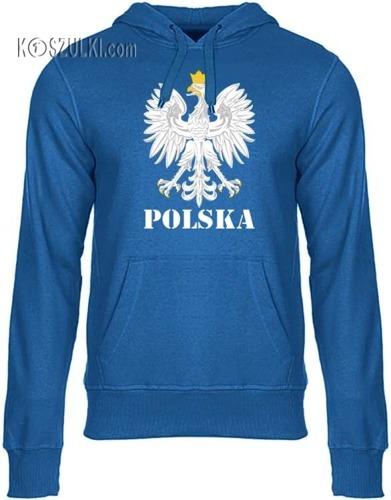Bluza z kapturem Orzeł– Polska,niebieska