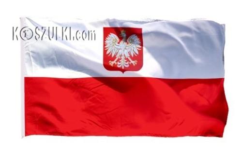 Flaga Polska Bandera z godłem 115x70cm biało czerwona z tunelem na kij