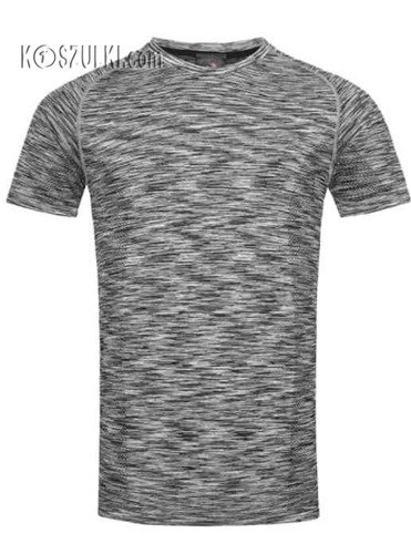 Koszulka treningowa męska szybkoschnąca- Czarny melanż