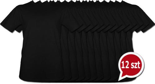 Koszulki Czarne bez nadruku pakiet promocyjny 12szt