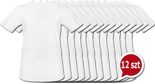 Koszulki białe bez nadruku pakiet promocyjny 12szt