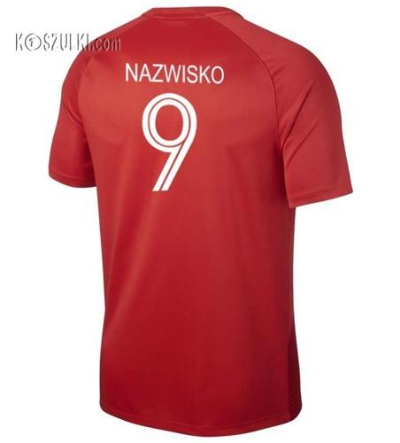 Koszulka Reprezentacji Polski Nike Oryginalna Mś 2018 Away Top  Czerwona Nazwisko