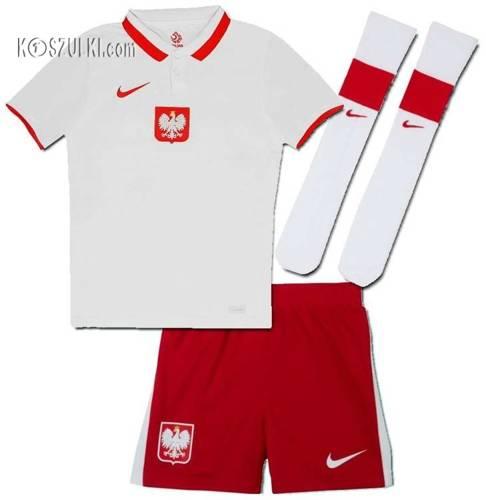 Strój kibica Reprezentacji Polski Nike Poland Euro2020 Koszulka i spodenki i getry własny numer i nazwisko