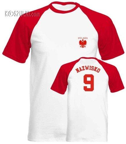 T-shirt Baseball maly orzeł i własne nazwisko oraz numer