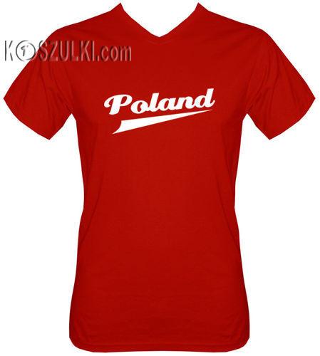 T-shirt v-Neck TV120 Poland Czerwony