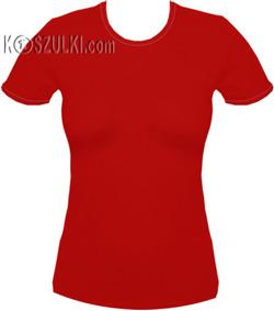 koszulka damska CZERWONA - czerwona lamówka