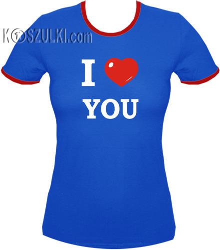 koszulka damska I Love You- NIEBIESKA