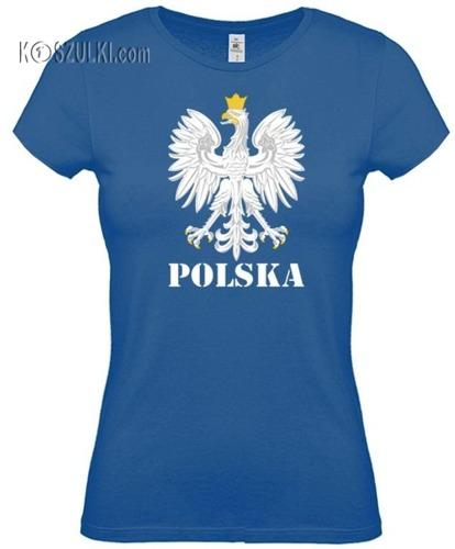 koszulka damska Kd003 Orzeł Polska- Niebieski