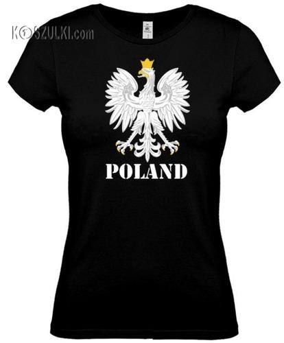 koszulka damska Kd109 ORZEŁ Poland- CZARNA