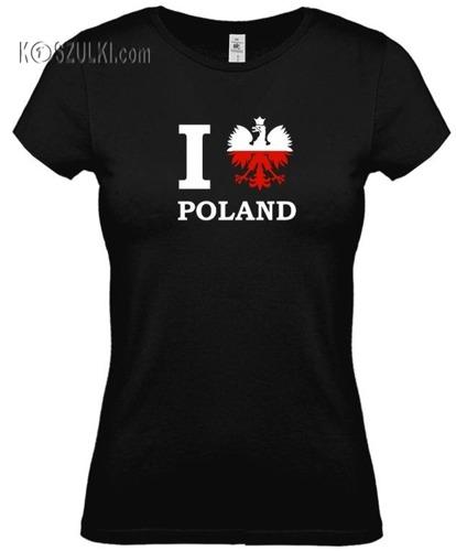 koszulka damska Kd131 I Love Poland- CZARNA