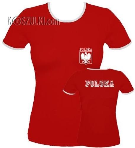 koszulka damska  Polska Małe Godło- Czerwona