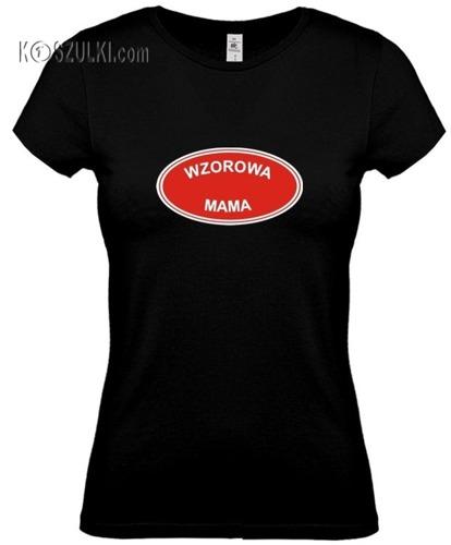 koszulka damska Wzorowa Mama- CZARNA