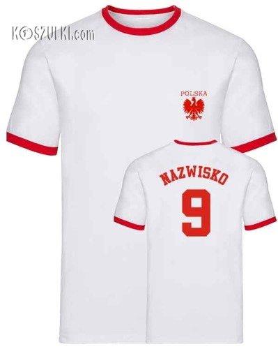 t-shirt 2K Biały mały orzeł-własne nazwisko i numer