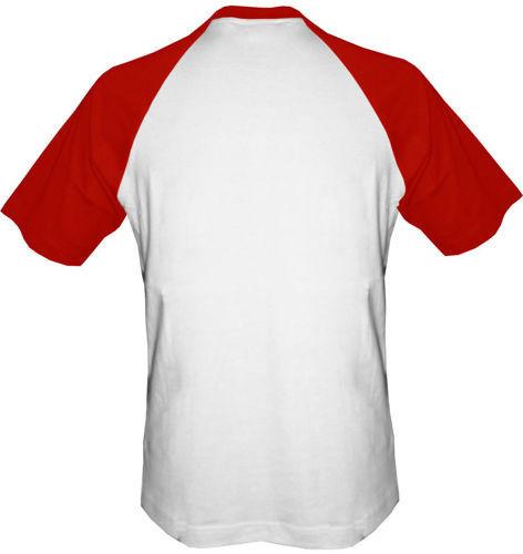 t-shirt Baseball dowolny tekst- biało-czerwony