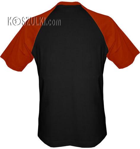 t-shirt Baseball dowolny tekst- czarny-cegła