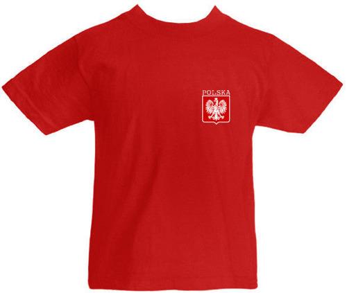 T-shirt dziecięcy- Polska + własne nazwisko Czerwona