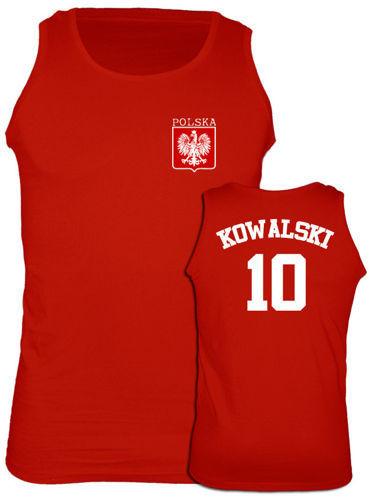t-shirt Ramiączka Polska + Własne Nazwisko Czerwony