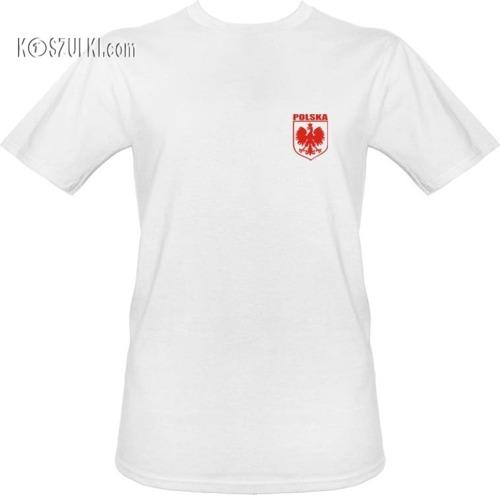 t-shirt T020 Polska male Godlo Biały