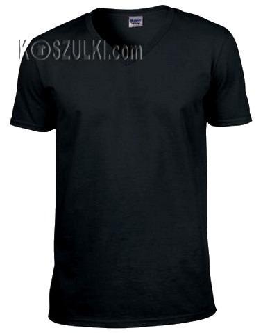 t-shirt bez nadruku w serek- Czarny